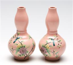 Sale 9246 - Lot 38 - A pair of Chinese pink ground double gourd vases featuring birds and flowers to body (H:16cm)