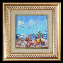 Sale 7923 - Lot 566 - Pro Hart - Beach Scene 15 x 15cm