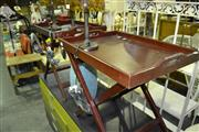 Sale 8013 - Lot 1098 - 2 Timber Serving Trays w Foldout Stands
