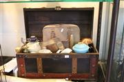 Sale 8189 - Lot 116 - Pressed Leather & Timber Chest with Contents incl. Olivetti Typewriter
