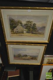 Sale 8214 - Lot 2054 - Artist Unknown (XX)(2 works) - Country Residence Scenes each 24.5 x 40cm