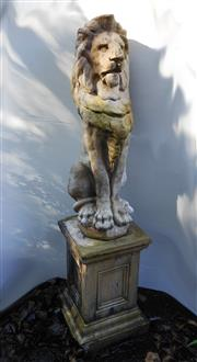 Sale 8256A - Lot 7 - A vintage composition stone garden figure of a lion on stand. Some chips / weathering - Overall height : 124 cm. Lion Ht:: 77 cm