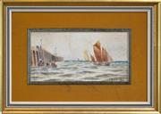 Sale 8294 - Lot 581 - Thomas Bush Hardy (1842 - 1897) (2 works) - Harbour Scene, 1892, and Fisherman at Sea, 1892 20.5 x 40cm, each