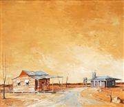 Sale 8459 - Lot 525 - Ric Elliot (	1933 - 1995) - Outback Town 59.5 x 70cm
