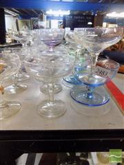 Sale 8464 - Lot 2217 - Collection of Champagne Glasses & Coloured Glass Dessert Bowls