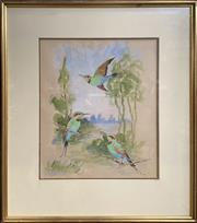 Sale 8686 - Lot 2015 - Beth Mayne - Birds, 1980, gouache, 44 x 38cm (frame size), signed and dated lower right