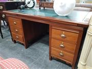Sale 8744 - Lot 1083 - Timber Desk With Leather Top