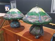 Sale 8760 - Lot 1008 - Pair of Leadlight Shade Table Lamps with Dragon Fly Motifs