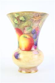 Sale 8827 - Lot 35 - Royal Worcester Trumpet Vase Decorated With Fruit By H. Aryton