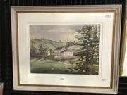 Sale 9033 - Lot 2020 - Lin Litchfield, Views from Government House, Norfolk Island, watercolour, 42 x 53cm (frame), signed lower left