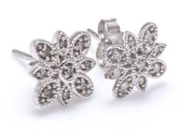 Sale 9123J - Lot 192 - A PAIR 10CT WHITE GOLD DIAMOND STUD EARRINGS; each a floral cluster set with 9 single cut diamonds, tdw = approx. 0.10ct, wt.
