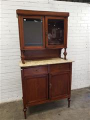 Sale 9080 - Lot 1014 - French style inlaid timber cabinet with two glass panel doors (h:212 x w:104 x d:47cm)