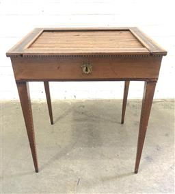 Sale 9126 - Lot 1219 - 19th Century Dutch Marquetry Ladys Desk & Work Table, in the Louis XVI manner, with multi-coloured tambour shutter, revealing a fit...