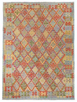 Sale 9123J - Lot 301 - A vintage Kilim rug, the repeating diamond pattern within the central panel surrounded by a repeating geometric border over a lime/b...