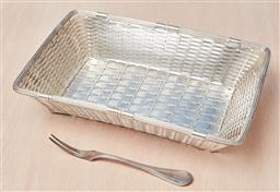 Sale 9099 - Lot 279 - A Christofle woven basket, Width 28cm, together with a Christofle fork