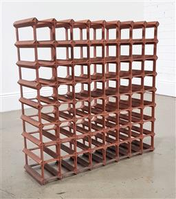 Sale 9210 - Lot 1020 - Painted timber wine rack (h:82 w:82 d:24cm)