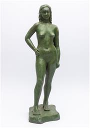 Sale 8530A - Lot 205 - Artist unknown, A heavy bronze female nude, height 50cm, (Artists mark to base)