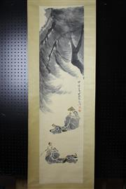 Sale 8393 - Lot 74 - Chinese Scroll; 2 Men on 2 Water Buffalo Depiction; Pale Yellow Mounting; Signed