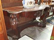Sale 8444 - Lot 1064 - Victorian Mahogany Side Table, with shaped top & carved frieze drawer, on cabriole legs joined by a shelf