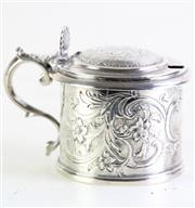 Sale 8972 - Lot 46 - Scottish sterling silver mustard pot hallmarked Edingburgh c.1847 by William Mortimer wt. 158.4g (Small chip to blue glass liner)