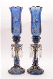 Sale 9027 - Lot 32 - A Pair of Venetian Blue Glass Hurricane Lanterns (Losses and chips to parts, H 56cm)