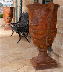 Sale 9190W - Lot 2 - A pair of large cast iron urns with handles. Height 151cm x width 110cm x diameter 78cm