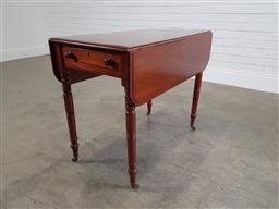 Sale 9196 - Lot 1040 - George III Mahogany Pembroke Table, with single frieze drawer, raised on turned legs (h70 x w96 x d90cm)