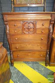 Sale 8255 - Lot 1080 - Late 19th Century Cedar Fronted Chest of Eight Drawers, with carved fascia