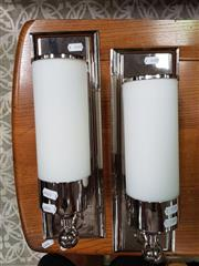 Sale 8476 - Lot 1085 - Pair of Chrome and Milk Glass Light Fittings