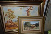 Sale 8497 - Lot 2063 - Pair of Works, Peaceful Kangaroo Valley Nancy Toovey, Barellan Landscape signed Joseph Sayer, oil on board