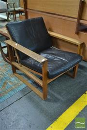 Sale 8528 - Lot 1030 - BORGE MOGENSEN Black Leather and Timber Chair with Rattan Back and Rope Seat