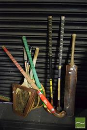 Sale 8530 - Lot 2162 - Collection of Hockey Sticks, Tennis Rackets & Cricket Bat