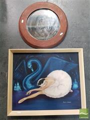 Sale 8548 - Lot 2058 - Annette Brenneke Swan Lake Framed Oil on Board SLR with a Round Wooden Mirror