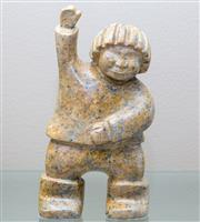 Sale 8593A - Lot 5 - A carved soap stone figure of a Chinese youth, signed Oliviera '91, H 24cm