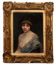 Sale 8902H - Lot 72 - Antique French school - Odalisque signed upper right and dated 1911