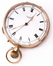 Sale 8937 - Lot 347 - A 9CT GOLD OPEN FACE POCKET WATCH WITH SINGLE BUTTON STOP FUNCTION; white dial signed John Russel London, Roman numerals, stem wind,...