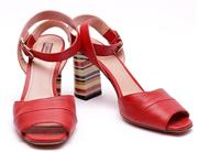 Sale 9029F - Lot 34 - A PAIR OF BALLY HASSIA SANDAL HEELS; burnt red colour leather with striped accented 85mm high block heel and ankle strap fastening,...