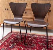 Sale 9023H - Lot 29 - A set of four ant style chairs in dark timber finish, height of back 78cm