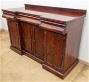 Sale 9058H - Lot 2 - A C19th mahogany side board with inverted break front, four doors revealing a shelved interior below three drawers, Height 94cm x Wi...