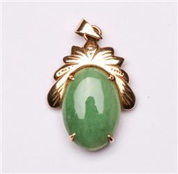 Sale 9110 - Lot 40 - A Chinese 14k gold & greenstone pendant wt: 2.5g
