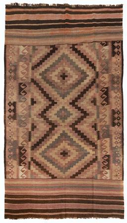 Sale 9123J - Lot 302 - A vintage Kilim rug, the diamond pattern within the central panel surrounded by a repeating geometric border and straight lined bord...