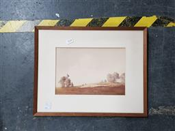 Sale 9127 - Lot 2028 - Victor Robert Watts  Rounding up the Sheep, watercolour, frame: 35 x 44 cm, signed lower left