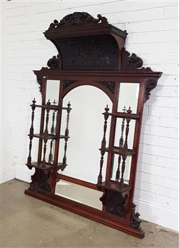 Sale 9196 - Lot 1010 - Large Late 19th Century Probably Blackwood Overmantle Mirror, the carved crest above a deep cavetto with pressed design of gryphons...