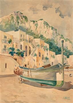 Sale 9244 - Lot 559 - ATTRIBUTED ARTHUR MELVILLE (1855 - 1904) Capri, 1902 watercolour 48.5 x 35 cm (frame: 73 x 58 x 3 cm) signed and dated lower right