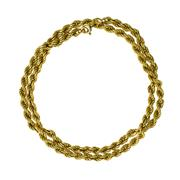 Sale 8253 - Lot 325 - A 14CT GOLD ROPE CHAIN; to a bolt ring clasp, length 46cm, wt. 11.7g.