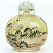 Sale 8390A - Lot 35 - Inside Painted Snuff Bottle depicting a Mountain Scene, bridge scene to one side & red flowers to the bottom of the other