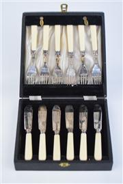 Sale 8381 - Lot 95 - Silver Plated Fish Cutlery Setting in Fitted Box