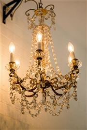 Sale 8420A - Lot 89 - An exquisite & rare antique French mercury gilded bronze six light chandelier featuring original crystals, garlands and milk glass...