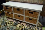 Sale 8550 - Lot 1260 - Timber Low Lying Chest of Six Seagrass Drawers