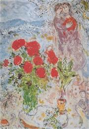 Sale 8985A - Lot 5038 - Marc Chagall (1887 - 1985) - Red Bouquet & Lovers 84.5 x 63 cm (frame: 113 x 87 x 3 cm)